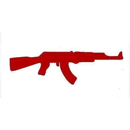 Makineli Tüfek Sticker Kýrmýzý