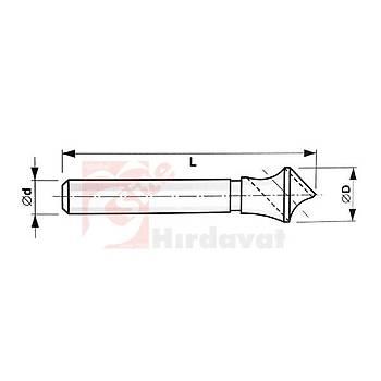 Delikli (Zenker) Havþa Freze 90° 44 mm 25/30 HSS (PLD) (1 Adet)