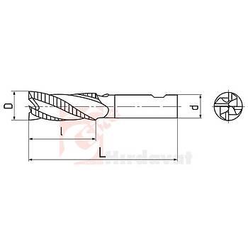 Uzun Kabatalaþ Freze 36 mm DIN 844 NR HSS (Çin) (1 Adet)