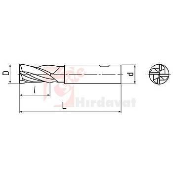 Kýsa Parmak Freze 35 mm DIN 844 HSS TiN (Çin) (1 Adet)
