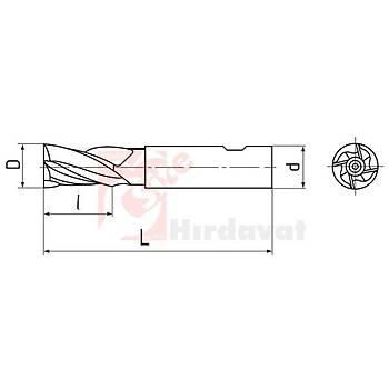 Uzun Parmak Freze 08 mm DIN 844 HSS (Çin) (1 Adet)