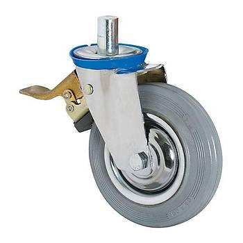 3105 SEB 100 Pimli Burçlu Gri Lastikli Teker Frenli