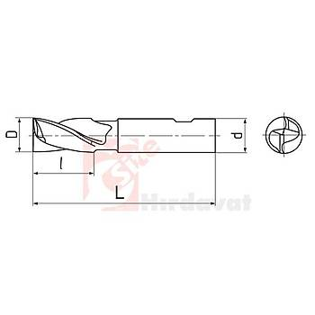Ýki Aðýzlý Kýsa Delik Frezesi 24 mm DIN 327 HSS (Çin) (1 Adet)