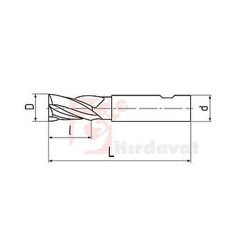 Karbür Parmak Freze TiAlN Kaplamalý 4 Aðýzlý 20x40 mm Baþlý 105 mm Saplý (PLD) (1 Adet)