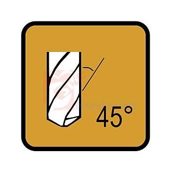 Karbür Parmak Freze 2 Aðýzlý 10 mm 45 Derece Helis TiN Kaplamalý (1 Adet)