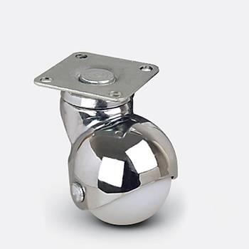 Emes / EF01 MKC 40 / 40 mm Çaplý Tablalý Moblen (PP) Üzeri PVC Kaplý Burçlu Küre Döner Teker