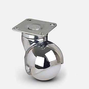 Emes / EF01 MKC 50 / 50 mm Çaplý Tablalý Moblen (PP) Üzeri PVC Kaplý Burçlu Küre Döner Teker