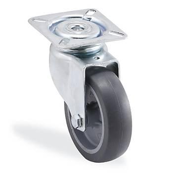 Kama / 1702 MTB 050 / 50 mm Çaplý Tablalý Moblen (PP) Üzeri Termoplastik Kaplama Burçlu Döner Teker