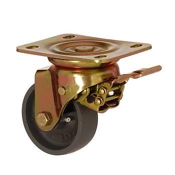 Zet / 4002 ADB 150 F32 / 150 mm Çaplı Tablalı Döküm Burçlu Sarı Maşalı Frenli Döner Teker