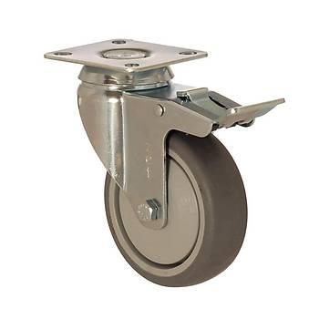 Zet / 5002 MER 125 F4 / 125 mm Çaplý Tablalý Moblen (PP) Üzeri Termoplastik Kaplý Rulmanlý Medikal Tip Frenli Döner Teker