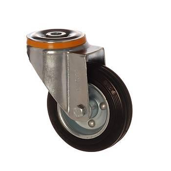 Zet / 6000 SLB 125 / 125 mm Çaplý Delikli Sac Cant Üzeri Dolgu Lastik Burçlu Döner Teker