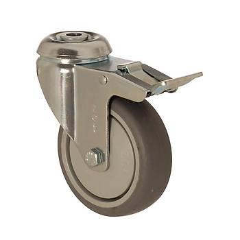 Zet / 5000 MER 125 F4 / 125 mm Çaplý Delikli Moblen (PP) Üzeri Termoplastik Kaplý Rulmanlý Medikal Tip Frenli Döner Teker