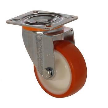 Zet / 3002 PUB 080 / 80 mm Çaplı Tablalı Polyamid Üzeri Poliüretan Kaplı Burçlu Döner Teker