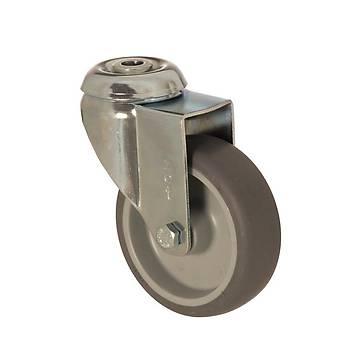 Zet / 5000 MEB 125 / 125 mm Çaplý Delikli Moblen (PP) Üzeri Termoplastik Kaplý Burçlu Medikal Tip Döner Teker