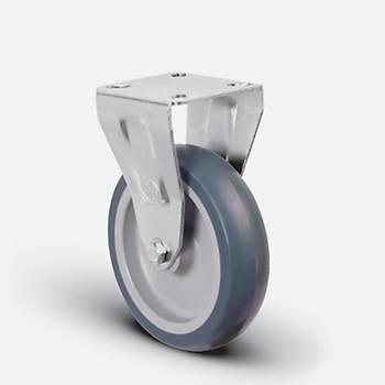 Emes / ER02 MKT 125x32 / 125 mm Çaplý Moblen (PP) Üzeri Termoplastik Kaplama Burçlu Medikal Tip Sabit Teker