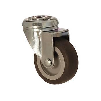 Zet / 1100 MEB 075 / 75 mm Çaplý Delikli Moblen (PP) Üzeri Termoplastik Kaplý Burçlu Döner Teker