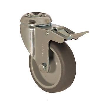 Zet / 5000 MEB 125 F4 / 125 mm Çaplý Delikli Moblen (PP) Üzeri Termoplastik Kaplý Burçlu Medikal Tip Frenli Döner Teker