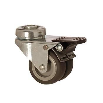 Zet / 1300 MEB 050 F4 / 50 mm Çaplý Delikli Moblen (PP) Üzeri Termoplastik Kaplý Burçlu Çiftli Frenli Döner Teker