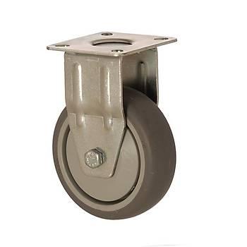 Zet / 5004 MER 125 / 125 mm Çaplý Moblen (PP) Üzeri Termoplastik Kaplý Rulmanlý Medikal Tip Sabit Teker