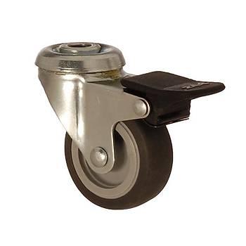 Zet / 1100 MEB 075 F4 / 75 mm Çaplý Delikli Moblen (PP) Üzeri Termoplastik Kaplý Burçlu Frenli Döner Teker