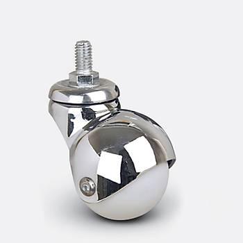 Emes / EF05 MKC 40 / 40 mm Çaplý Civatalý Moblen (PP) Üzeri PVC Kaplý Burçlu Küre Döner Teker