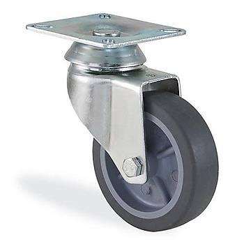 Kama / 1702 MTB 075 / 75 mm Çaplý Tablalý Moblen (PP) Üzeri Termoplastik Kaplama Burçlu Döner Teker