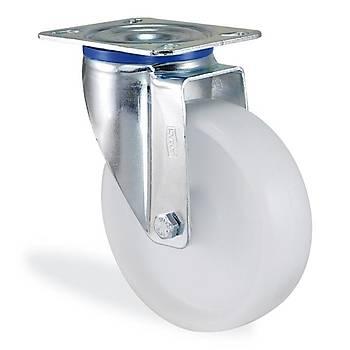 Kama / K3302 MMB 080 / 80 mm Çaplı Tablalı Moblen (PP) Burçlu Döner Teker