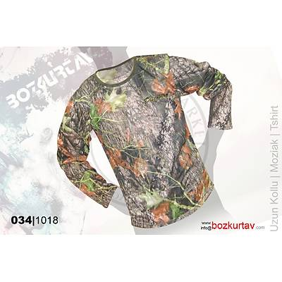 Discovery Uzun Kollu Klima Mozaik Desenli T-Shirt