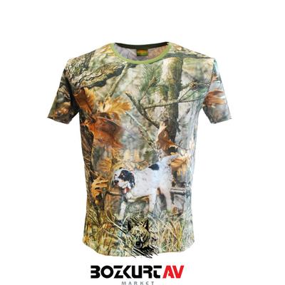 Yiðit Avcýlýk Setter Desenli 3D Kamuflaj T-Shirt (Kýsa Kollu)
