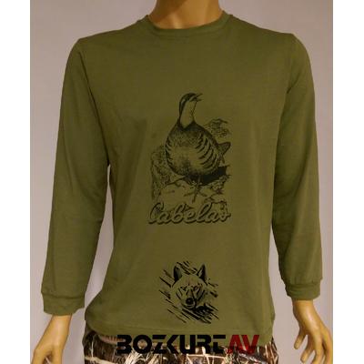 CABELA'S Keklik Desenli Yeþil Renkli T-Shirt (Uzun Kollu)