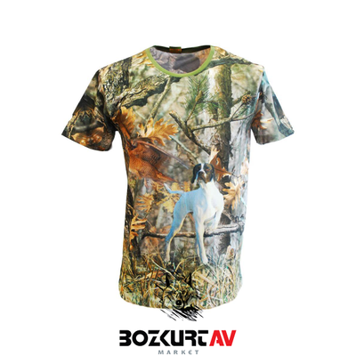 Yiðit Avcýlýk Pointer Desenli 3D Kamuflaj T-Shirt (Kýsa Kollu)