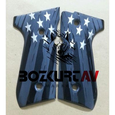 Beretta 92 FS 9 mm Gümüþ Yýldýz Çift Renk Tabanca Kabzesi