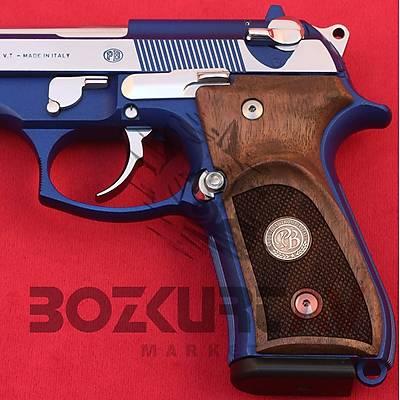Beretta 92 FS 9 mm Parmak Ýzli Logolu Ceviz Tabanca Kabzasý