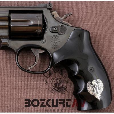 Smith & Wesson 357 Magnum Siyah Tasarým Pleksi Tabanca Kabzasý