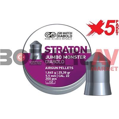 JSB Diabolo Straton Jumbo Monster 5,51 mm 5 Paket Havalý Tüfek Saçmasý (25,39 Grain - 1000 Adet)