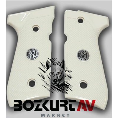 Beretta 92 FS 9 mm Desenli Beyaz Pleksi /KSD Logo Tabanca Kabzasý