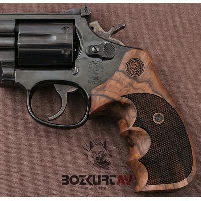 Smith & Wesson 44 Magnum Baklava Desen Kök Ceviz Tabanca Kabzasý