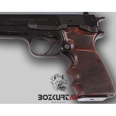 Browning HP 9 mm Ortopedik/Parmak izli Ceviz Tabanca Kabzasý