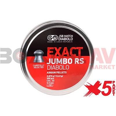 JSB Diabolo Exact Jumbo RS 5,52 mm 5 Paket Havalý Tüfek Saçmasý (13,43 Grain - 2500 Adet)