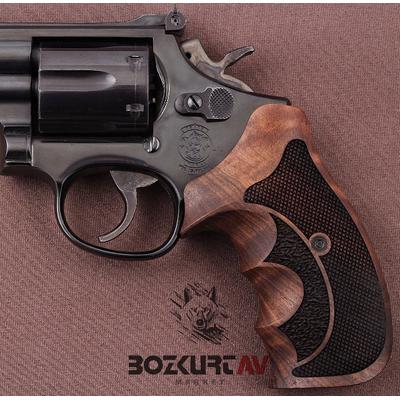 Smith & Wesson 44 Magnum Ceviz Baklava Desen Tabanca Kabzasý