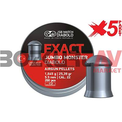 JSB Diabolo Exact Jumbo Monster 5,52 mm 5 Paket Havalý Tüfek Saçmasý (25,39 Grain - 1000 Adet)