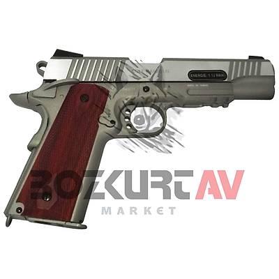 Cybergun Colt 1911 Nickel Wood Blowback Airsoft Havalý Tabanca