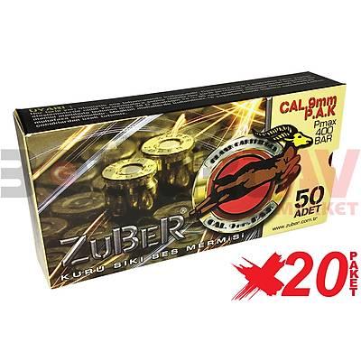 Zuber 9 mm 20 Paket Kurusýký Tabanca Mermisi
