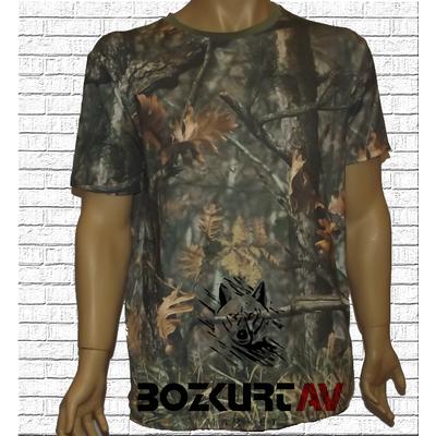 Yiðit Avcýlýk Orman Desenli 3D Kamuflaj T-Shirt (Kýsa Kollu)