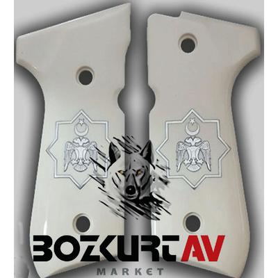 Beretta 92 FS 9 mm Beyaz Pleksi Tasarým (Selçuklu Kartalý) Tabanca Kabzasý