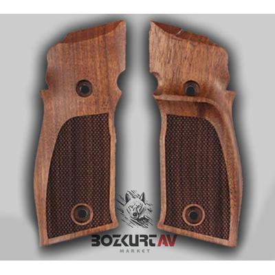 Sig Sauer P 226 X-Five Parmak Ýzli Baklava Desenli Ceviz Tabanca Kabzasý