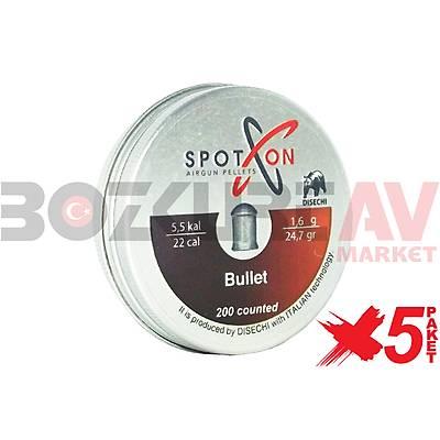 Spot On Bullet 5,5 mm 5 Paket Havalý Tüfek Saçmasý (24,69 Grain - 1000 Adet)