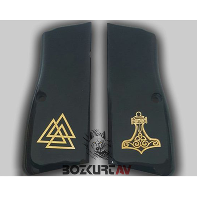 Browning HP 9 mm Özel Tasarým Siyah Pleksi-Sarý Gömme Tabanca Kabzasý