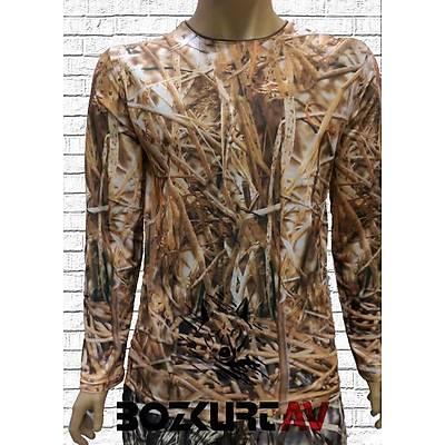 Yiðit Avcýlýk Sarý Sazlýk Desenli T-Shirt (Uzun Kollu)