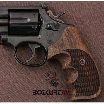 Smith & Wesson 357 Baklava Desenli Ceviz Tabanca Kabzasý